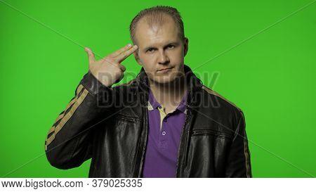 Desperate Hopeless Rocker Man In Leather Jacket Pointing Finger Pistol To Head, Feeling Frustrated S