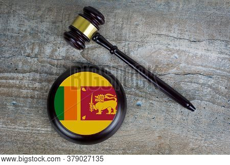 Wooden Judgement Or Auction Mallet With Of Sri Lanka Flag. Conceptual Image.