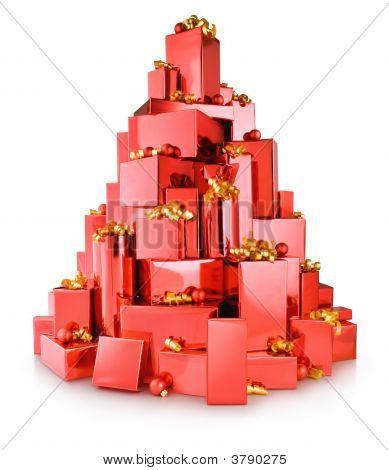 Caixas vermelho árvore