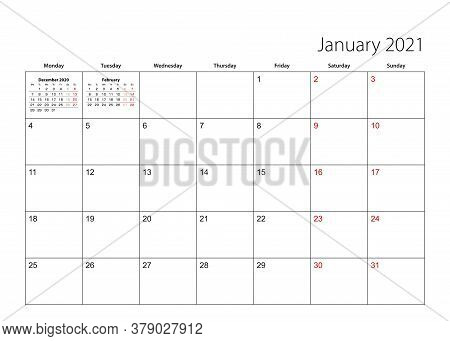 January 2021 Simple Calendar Planner, Week Starts From Monday. Vector Calendar Planner.