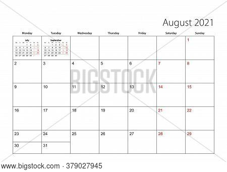 August 2021 Simple Calendar Planner, Week Starts From Monday. Vector Calendar Planner.