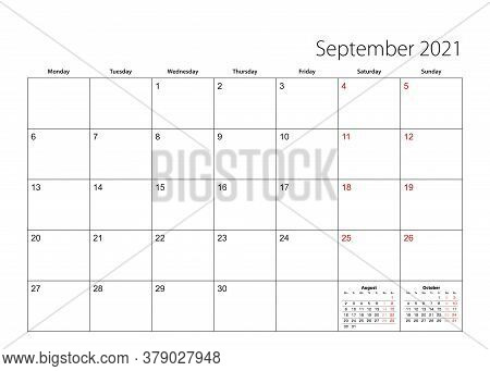 September 2021 Simple Calendar Planner, Week Starts From Monday. Vector Calendar Planner.