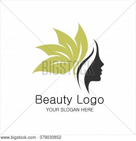 Beauty Logo Template. Woman Silhouette Vector Illustration, Woman Face In Natural Shape. Vector Logo