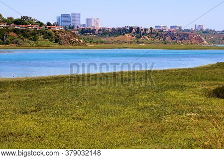 July 30, 2020 In Newport Beach, Ca:  Lush Green Tallgrass Besides A River Surrounded By Bluffs With