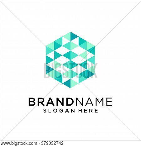 Hexagon Tech Logo . Abstract Pixel Hexagon Logo Colorfull Design Illustration . Hexagon Digital Logo