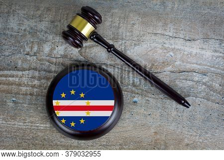 Wooden Judgement Or Auction Mallet With Of Cape Verde Islands Flag. Conceptual Image.