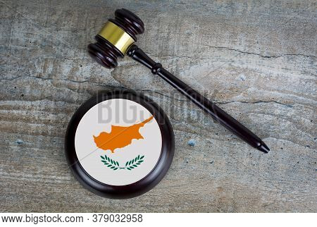 Wooden Judgement Or Auction Mallet With Of Cyprus Flag. Conceptual Image.