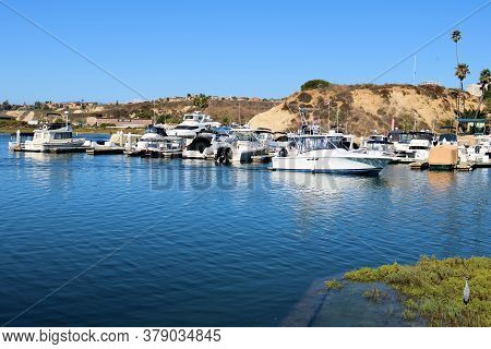 July 31, 2020 In Newport Beach, Ca:  Docked Yachts At The Newport Back Bay Which Is An Estuary Surro