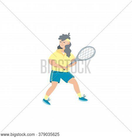 Man Playing Tennis. Sportsman Holding Rackets And Hitting Ball