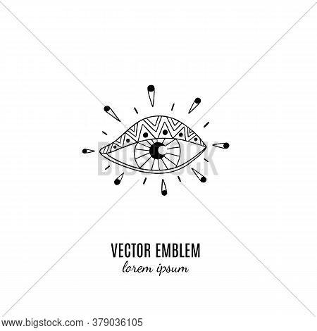 Esoteric Eye. Wild Magic Style Design. Isolated Illustration