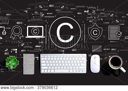 Copyright Concept With A Computer Keyboard And A Mouse