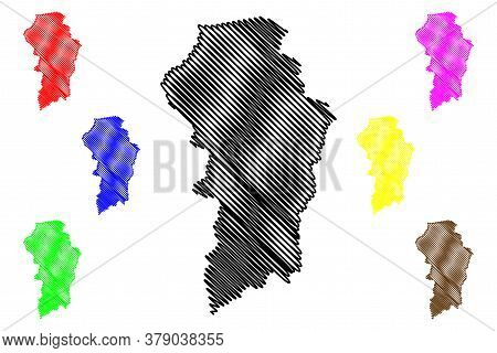 Brokopondo District (surinam, Republic Of Suriname) Map Vector Illustration, Scribble Sketch Brokopo