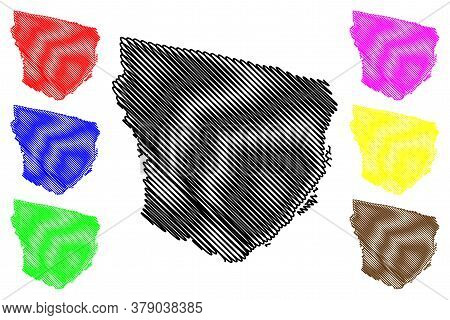 Marowijne District (surinam, Republic Of Suriname) Map Vector Illustration, Scribble Sketch Marowijn