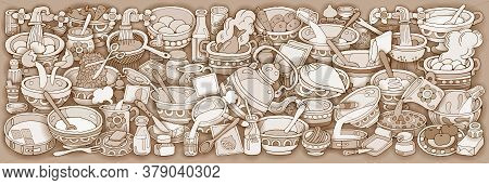 Home Cooking Vector Illustration. Set Of Food Cartoon Hand Drawn Abstract Elements Banner Design