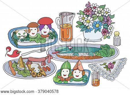 Home Cooking Still Life Vector Illustration. Food Cartoon Hand Drawn Background