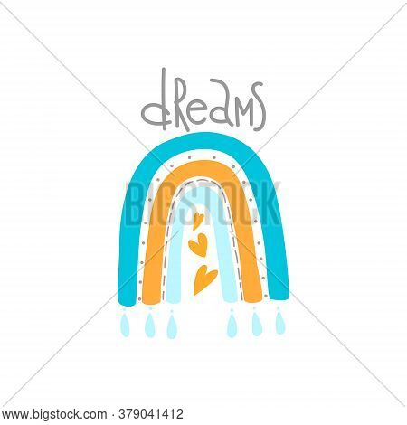 Vector Adorable Rainbow Clipart In Trendy Scandinavian Style. Cute Simple Illustration Rainbow For D