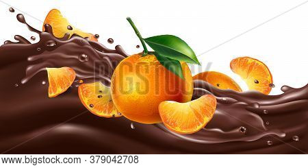 Whole And Sliced Mandarins On A Chocolate Wave.