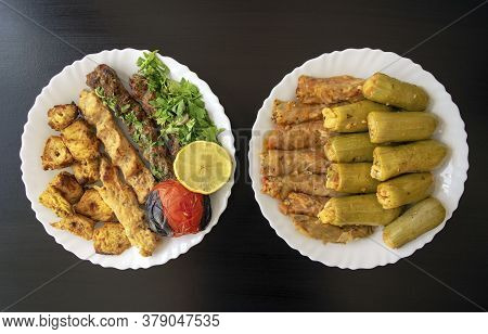 Famous Traditional Arabic, Turkish, Israel Food. Grilled Chicken, Lamb Kofta Kebab, Stuffed Squash,
