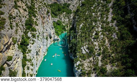 The Turqoise Water Of Verdon River In France - Famous Canyon Of Verdon - Travel Photography