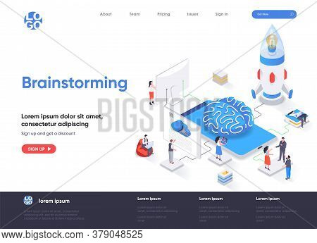 Brainstorming Isometric Landing Page. Innovation Solution, Business Idea Generation And Launch New S