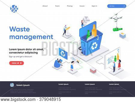 Waste Management Isometric Landing Page. Control And Management Of Garbage Utilization, Waste Collec