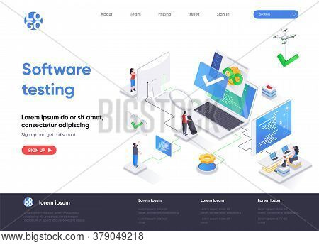 Software Testing Isometric Landing Page. Software Testing And Quality Assurance, Search Of Bugs And