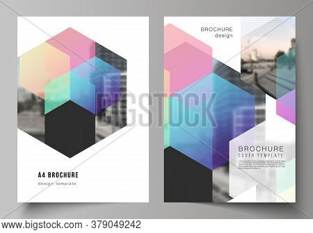 Vector Layout Of A4 Format Cover Mockups Design Templates With Colorful Hexagons, Geometric Shapes,
