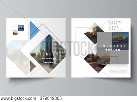 Vector Layout Of Two Square Format Covers Design Templates With Geometric Simple Shapes, Lines And P