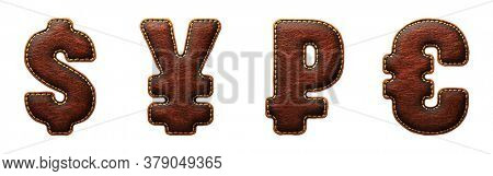 Set of symbols dollar, yen, rouble and euro made of leather. 3D render font with skin texture isolated on white background. 3d rendering
