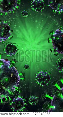 3d render of pathogenic virus organism or bacteria infecting and causing disease. Close up from microscope of coronavirus. 3d rendering