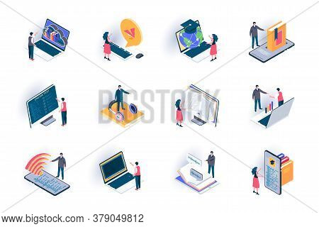 Online Education Isometric Icons Set. Distance Learning With Digital Devices, Online Courses And Web