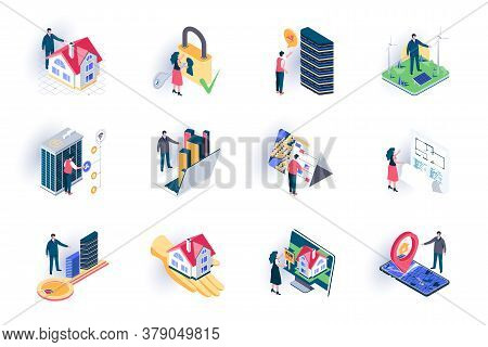 Real Estate Isometric Icons Set. Buildings Sale, Mortgage And Rent, Architecture Engineering And Con