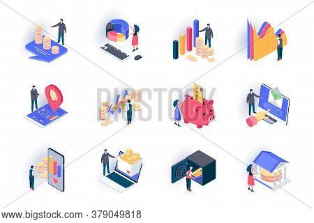 Finance Isometric Icons Set. Stock Trading, Capital Investment Flat Vector Illustration. Financial T