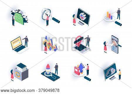 Seo Optimization Isometric Icons Set. Digital Marketing, Research And Strategy Planning, Traffic Ana