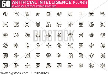 Artificial Intelligence Thin Line Icon Set. Machine Learning Outline Pictograms For Website And Mobi
