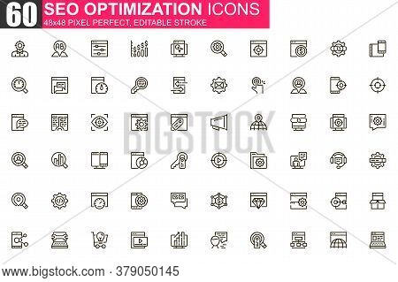 Seo Optimization Thin Line Icon Set. Web Analytics Outline Pictograms For Website And Mobile App Gui