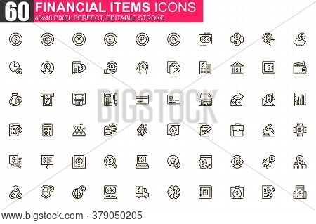 Financial Items Thin Line Icon Set. Money Exchange And Stock Trading Outline Pictograms For Website