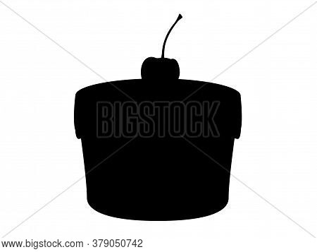 Cherry Cake - Black Silhouette - Stock Illustration For Pictogram Or Logo. Silhouette Cupcake With C