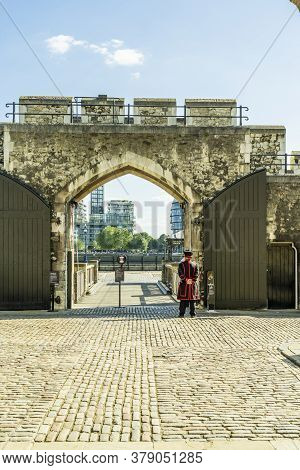June 2020. London. A Yeoman Or Beefeater At The Tower Of London A Unesco World Heritage Site, London