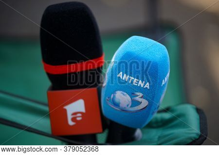 Bucharest, Romania - August 02, 2020: The Microphones Of The Antena 1 And Antena 3 Television Statio