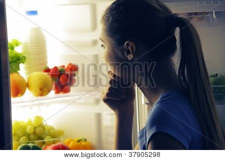Young Woman Choosing Food