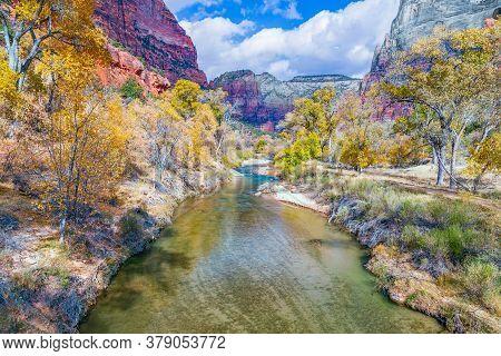 North Fork Virgin River In Zion National Park. Utah. Usa