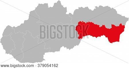 Kosice Region Isolated On Slovakia Map. Gray Background. Backgrounds And Wallpapers.