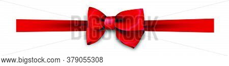 Red Realistic Silk Bows. Elements For Festive Decoration Of Boxes And Cards. Vector On White Backgro