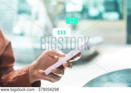 Woman Using Smartphone To Do Work Business, Social Network, Communication.