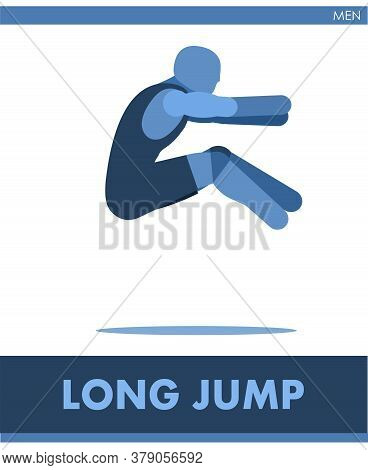 Long Jump Pictogram. Man Competes In Long Jumping. Icon Of Sportsman Track And Field. Men Or Boys At