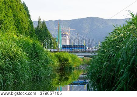 Geoje, South Korea - June 15, 2017: The Suspension Bridge At The  Dsme West Gate In Okpo, Gyeongsang