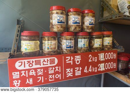 Busan, South Korea - July 20, 2017 : Plastic Cans Of Traditional Korean Anchovy Or Fermented Fish Fo