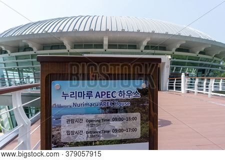 Busan,south Korea - July 20, 2017: Information Plate Of Nurimaru Apec House, The Convention Hall For