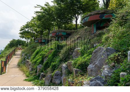 Old Military Shelters In Korean War Along The Hill Nearby Han River In Seoul, South Korea.